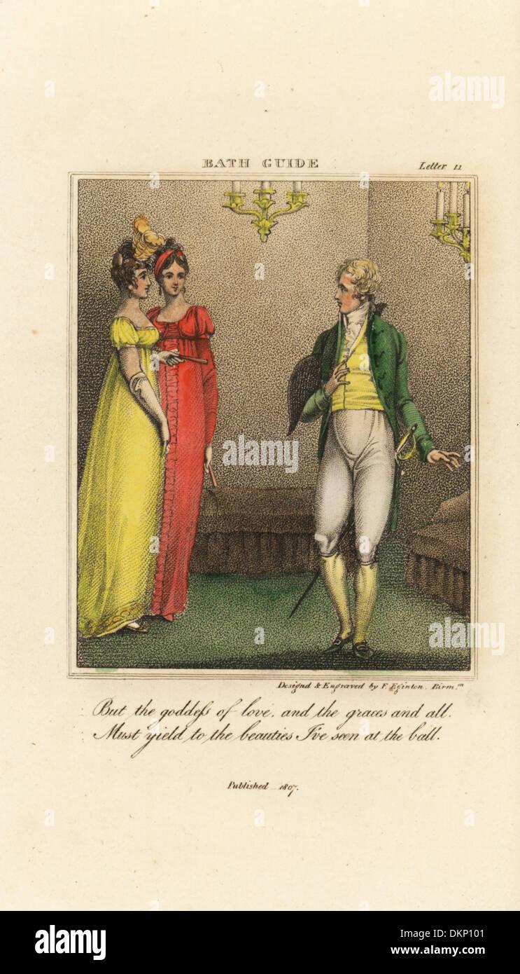 Regency Caballero y dos elegantes damas en una bola. Imagen De Stock