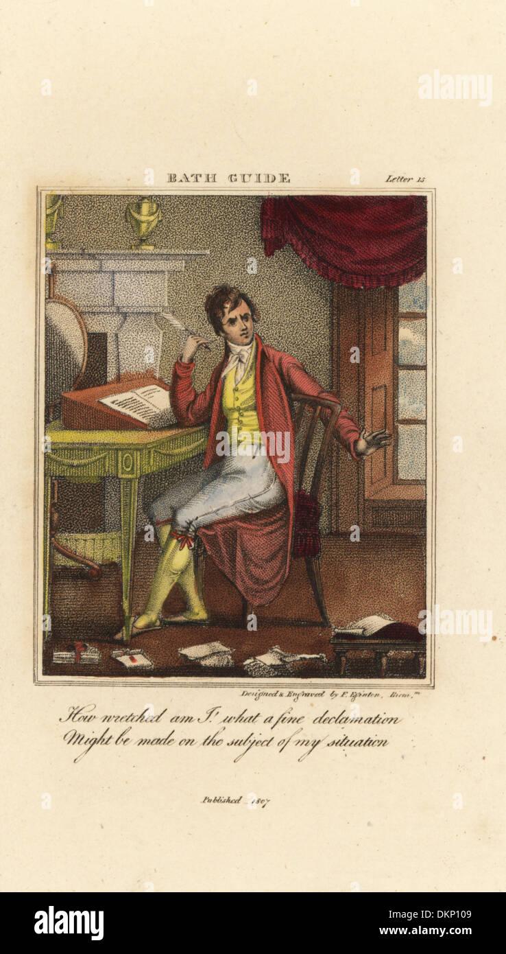 Regency caballero asentado en un ecritoire con una pluma pluma. Imagen De Stock