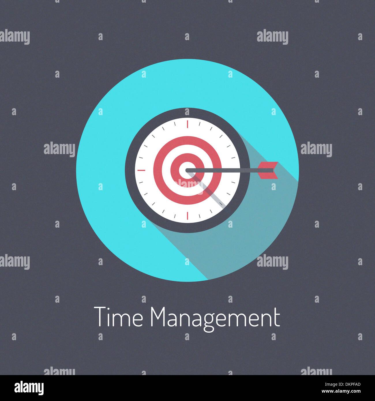 Diseño plano ILUSTRACIÓN MODERNA poster concepto de proceso de planificación y gestión del tiempo Imagen De Stock