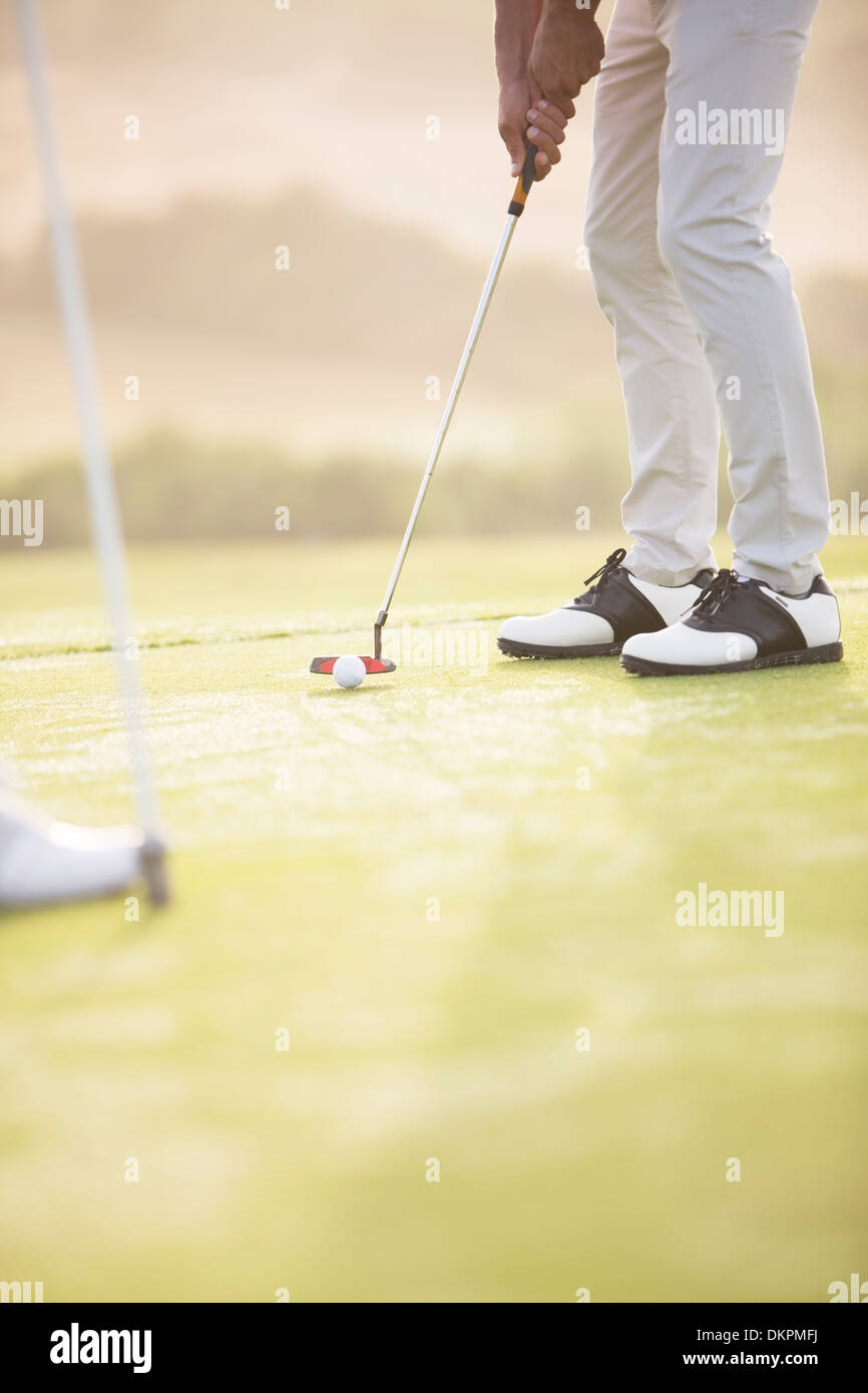 El hombre poniendo en campo de golf Imagen De Stock