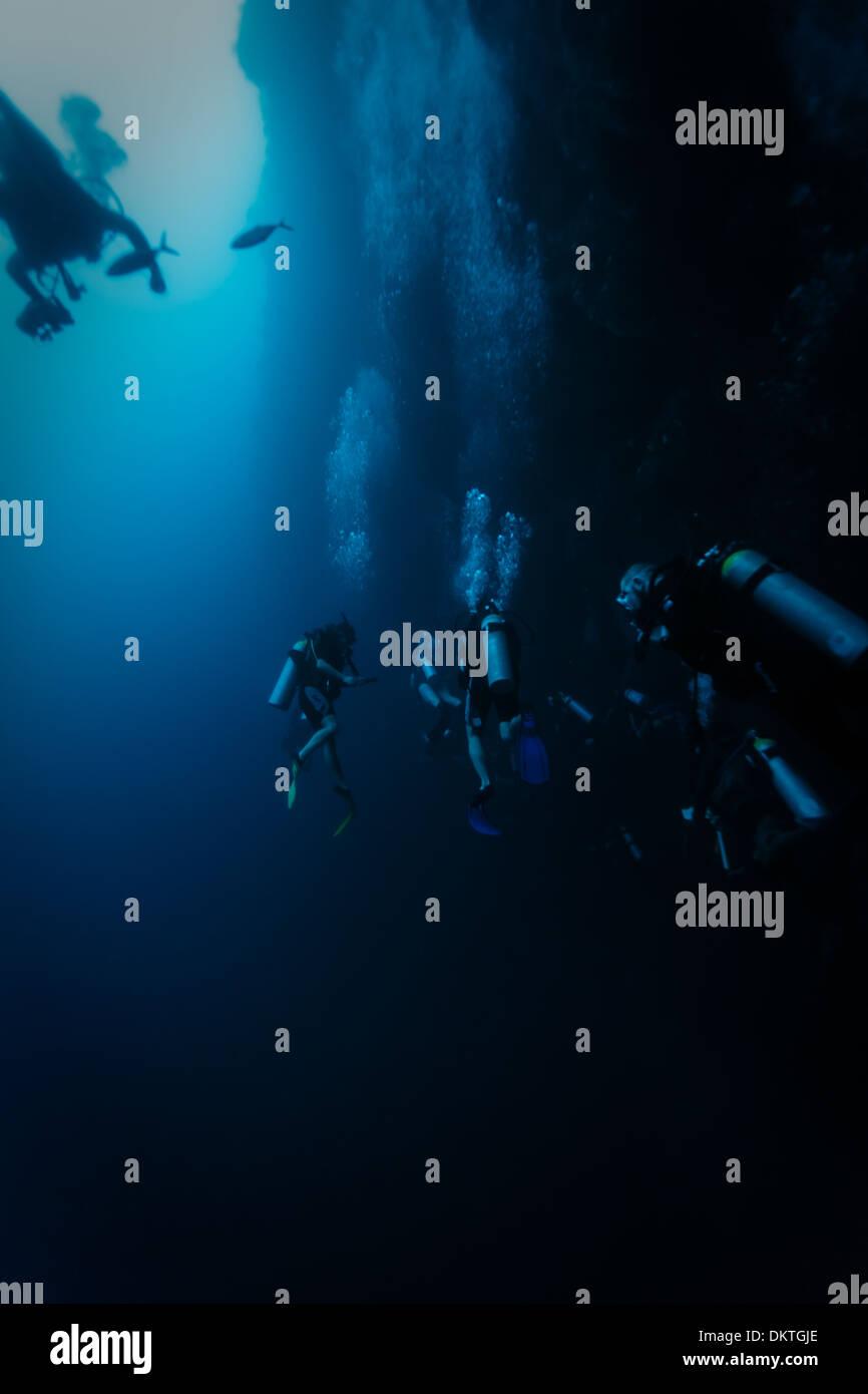 Los submarinistas exploran cara del agujero azul las paredes de la caverna como peces nadando por el Arrecife de Coral en el Mar Caribe Foto de stock