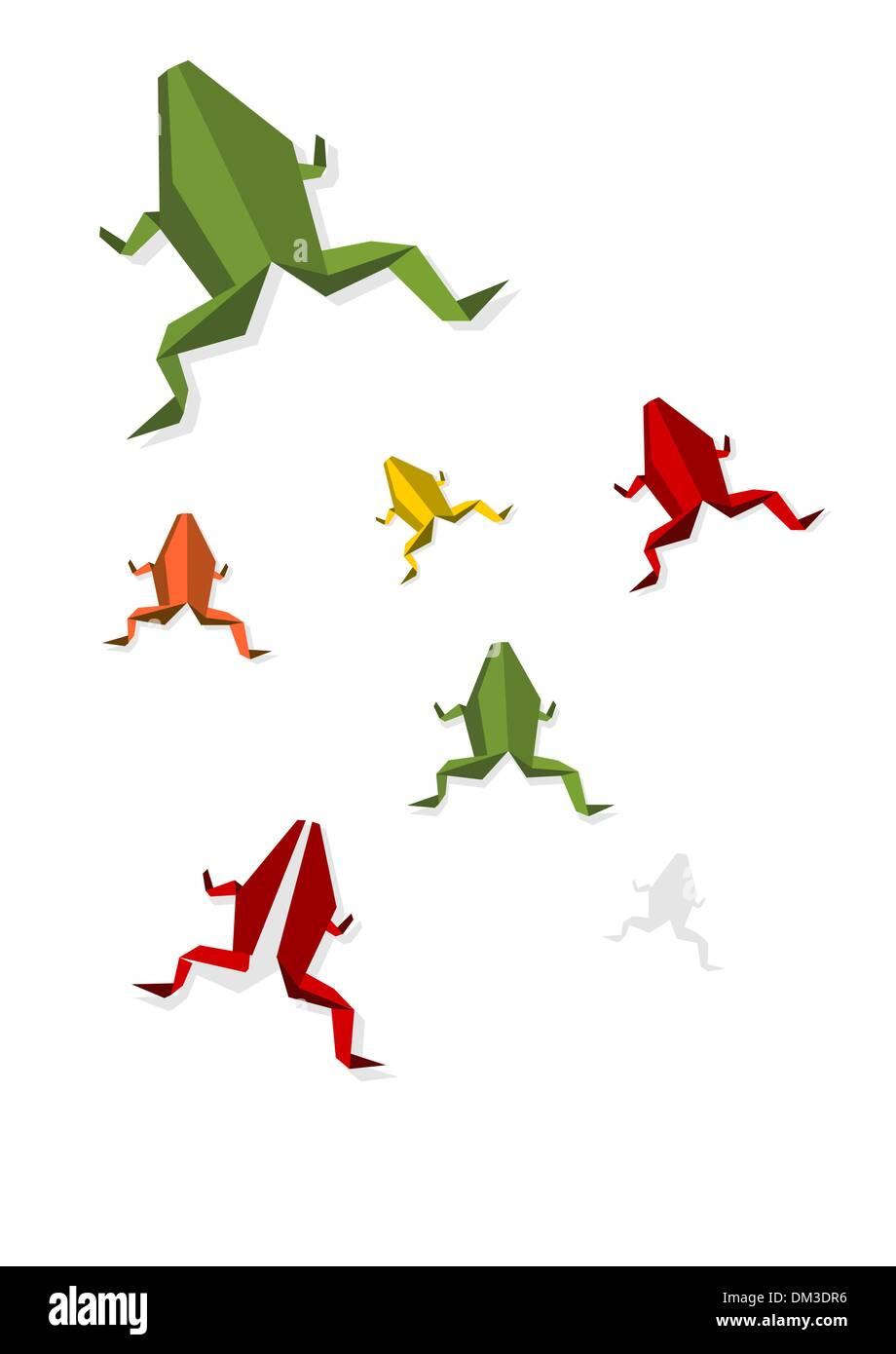 Grupo de diversos Origami rana Ilustración del Vector