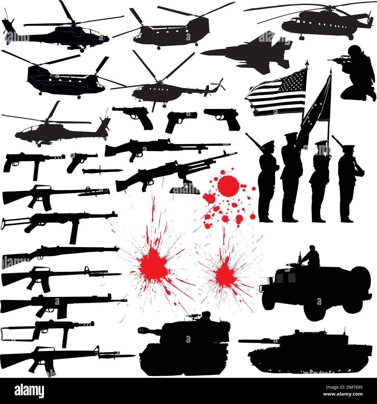 Siluetas militares Imagen De Stock