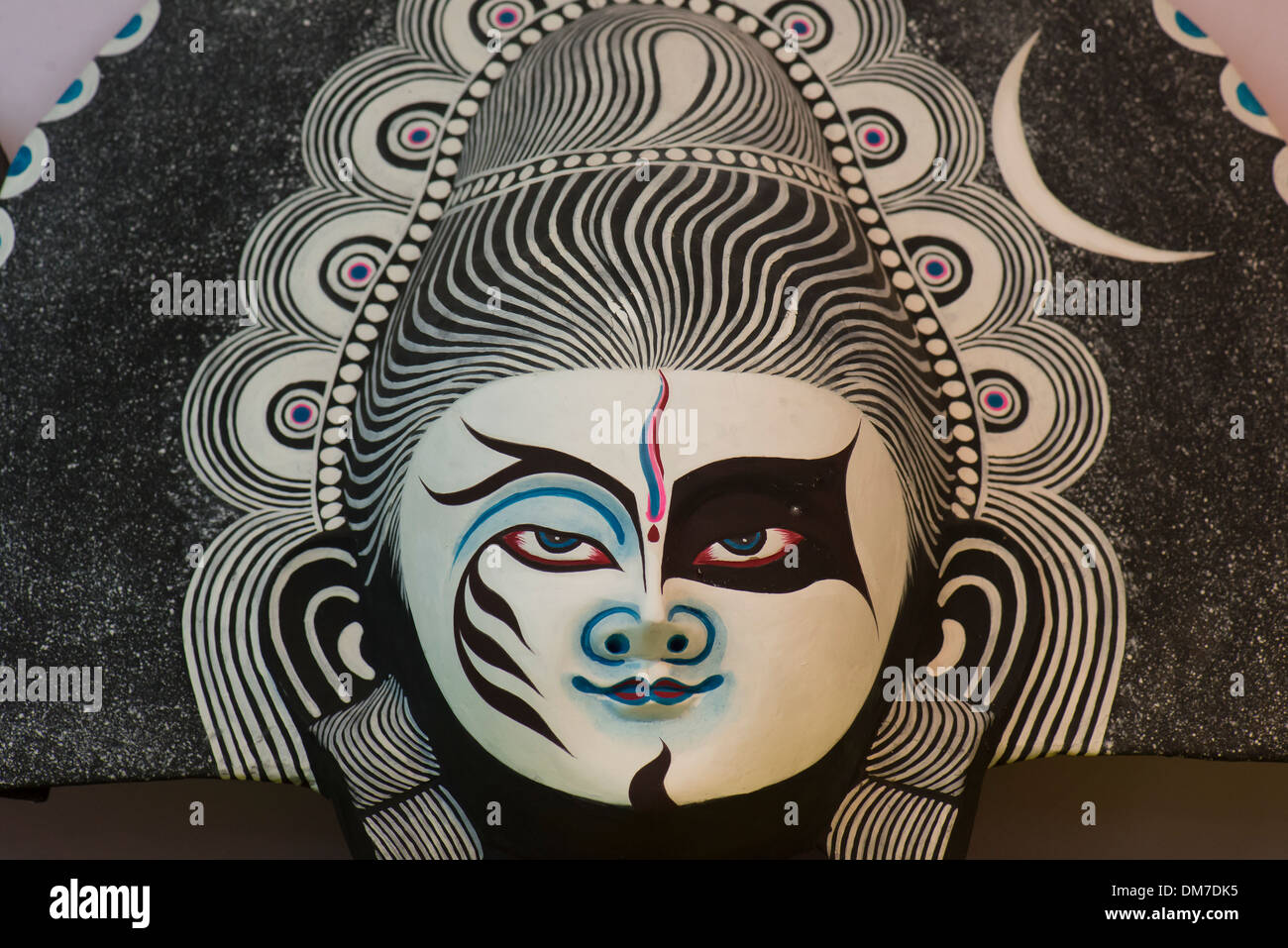 Máscara azul [WOP] en blanco, negro y rosa Imagen De Stock