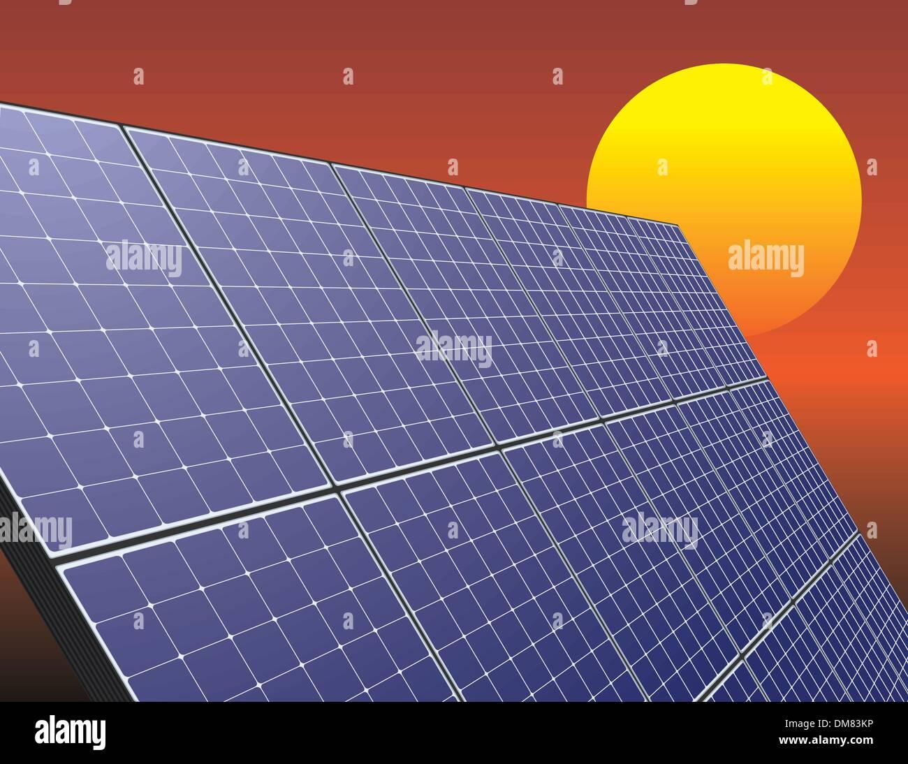 Panel de energía solar en el cielo del amanecer Imagen De Stock