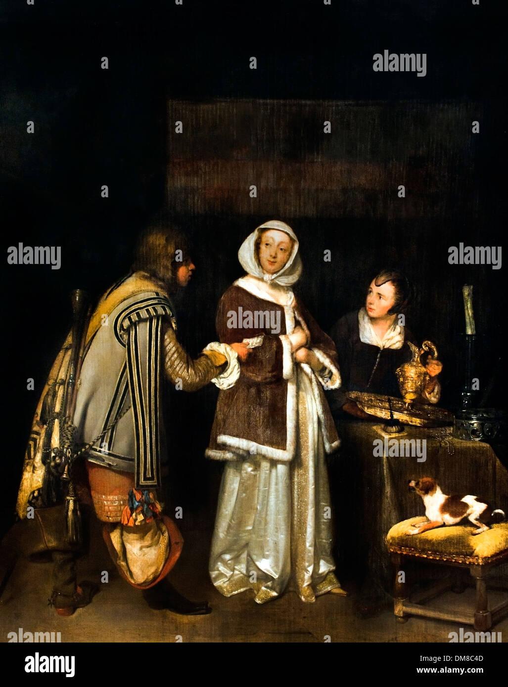 La Carta de 1655 Gerard Ter Borch (1617-1681) Holanda Holandesa Foto de stock