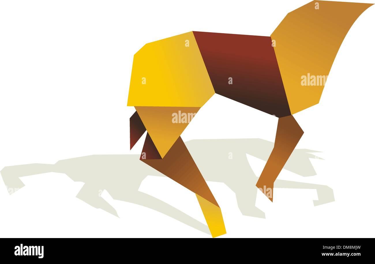 Colores vibrantes Origami caballo Ilustración del Vector