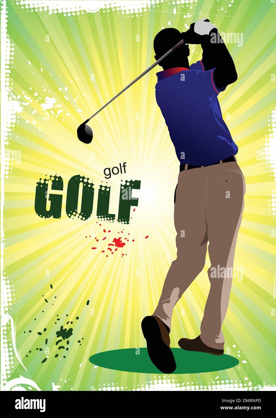 Póster con jugadores de golf. Ilustración vectorial Imagen De Stock