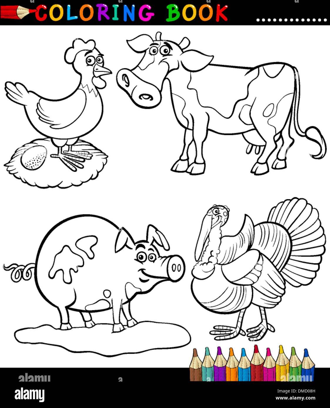 Dibujos Animados Animales De Granja Para Colorear Ilustracion Del