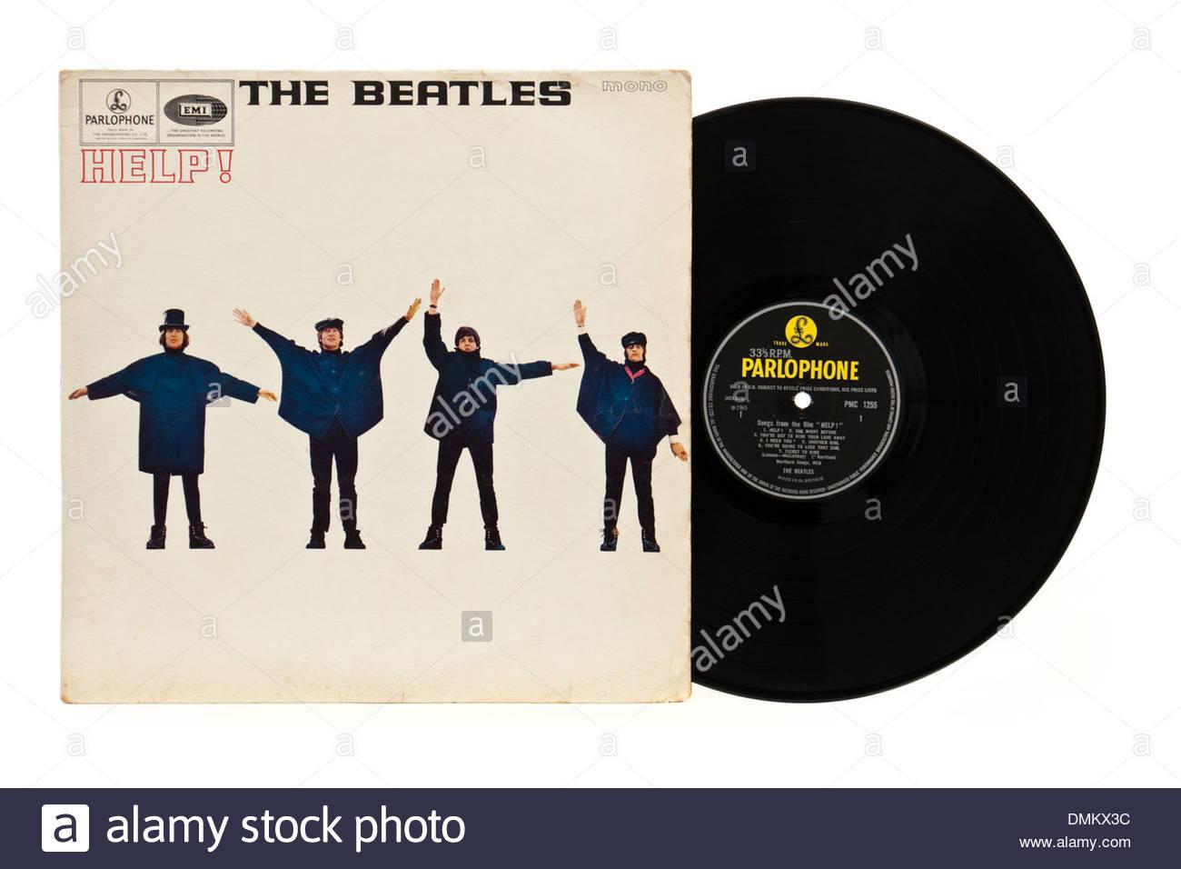 """LP """"Help"""" de los Beatles, la original 1965 versión mono - Parlophone PMC1255 (primer prensado). Imagen De Stock"""