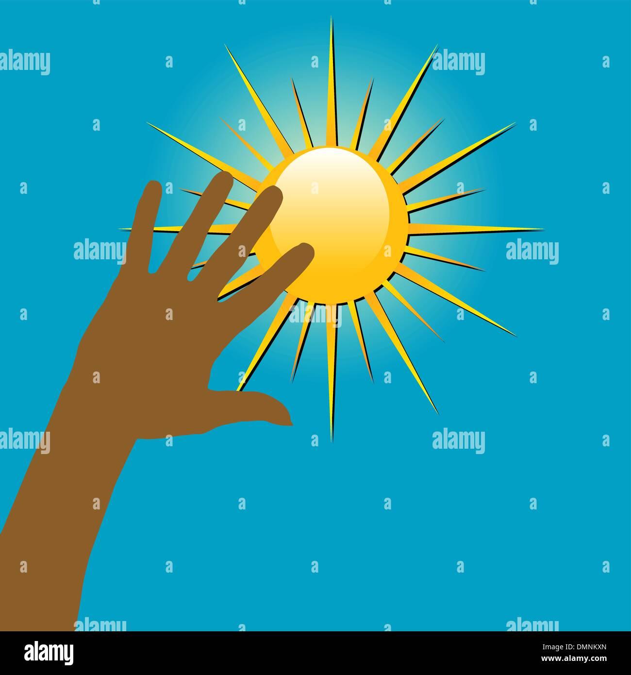Las manos sobre el Sol Imagen De Stock