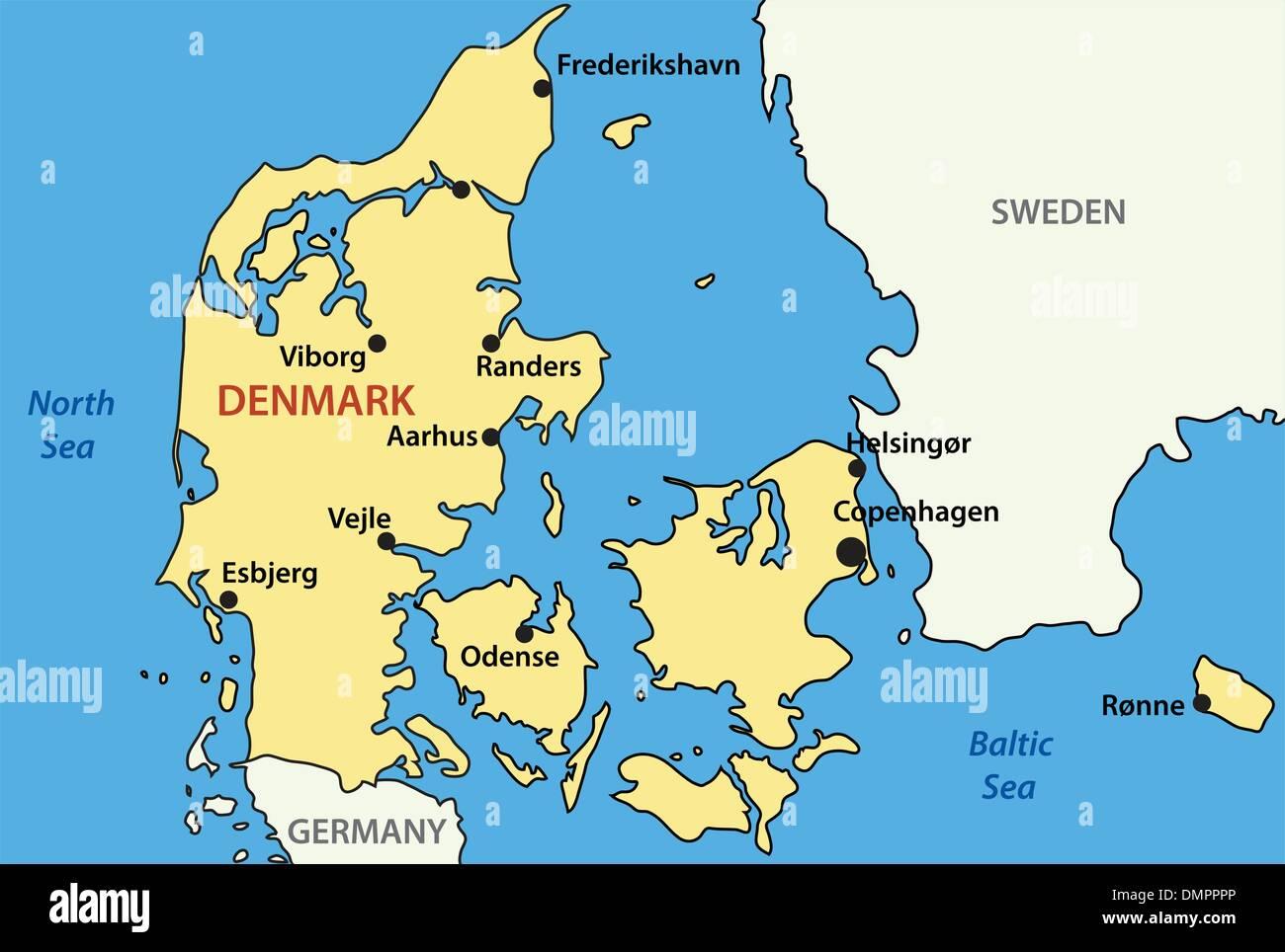 Mapa de vectores de Dinamarca Ilustración del Vector