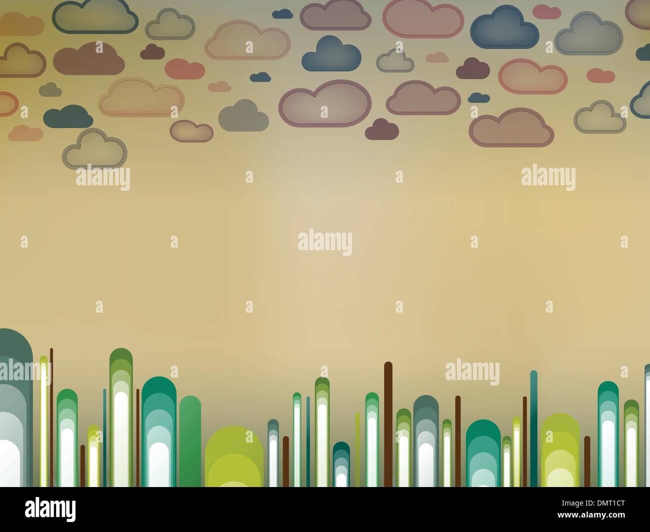 Retro paisaje con árboles y nubes Imagen De Stock