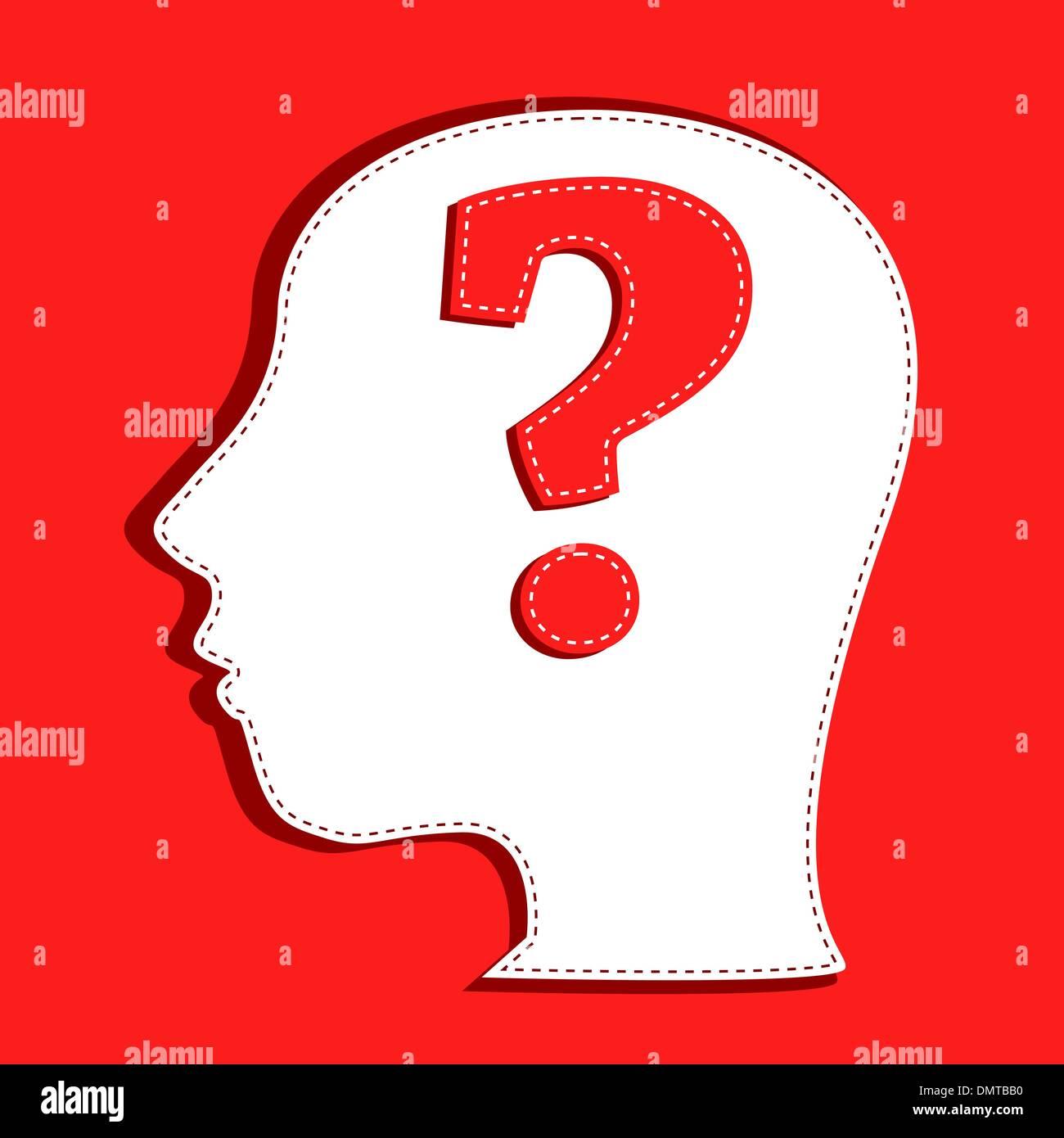 Cabeza humana con símbolo de interrogación Imagen De Stock