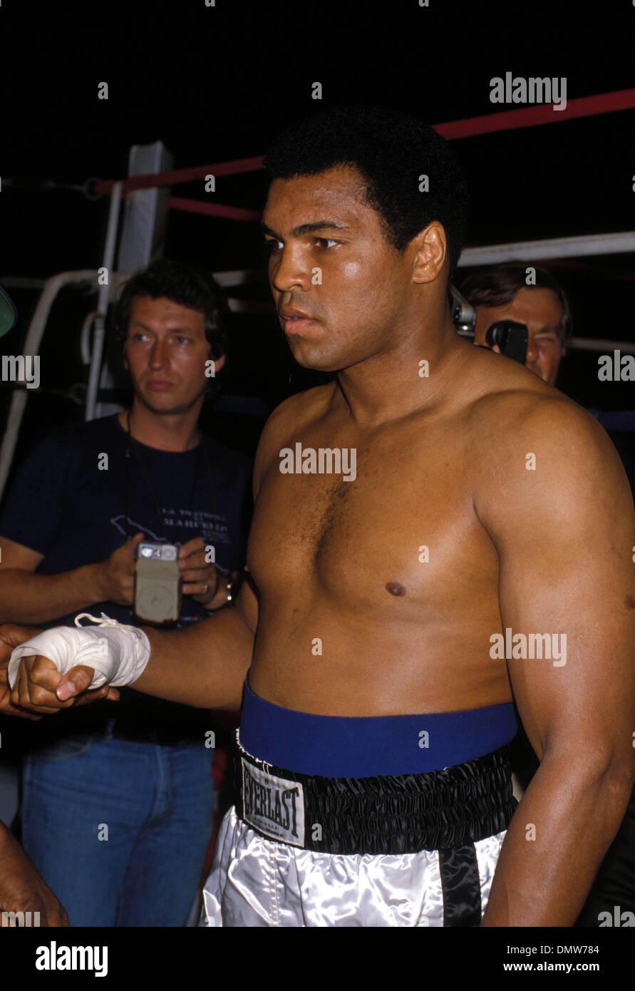 El 15 de septiembre, 1978 - Nueva Orleans, EE.UU. - Peso Pesado el boxeador Muhammad Ali se calienta antes de la Foto de stock