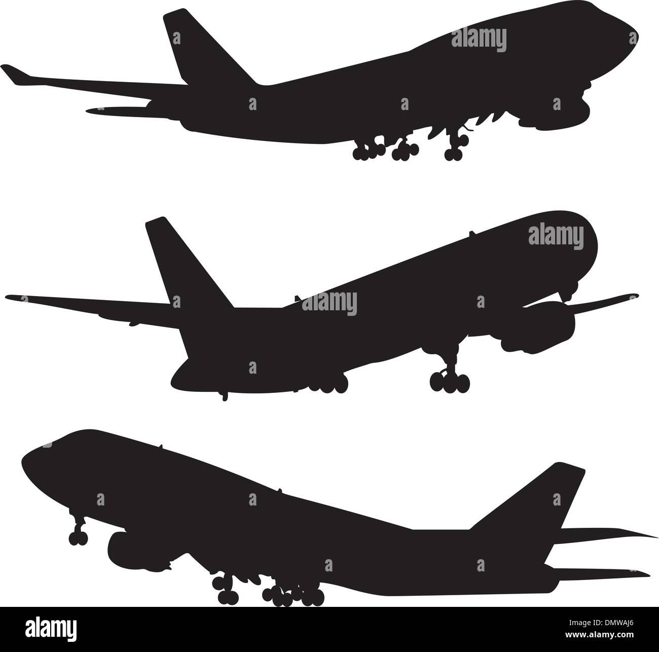 Silueta de avión set Imagen De Stock