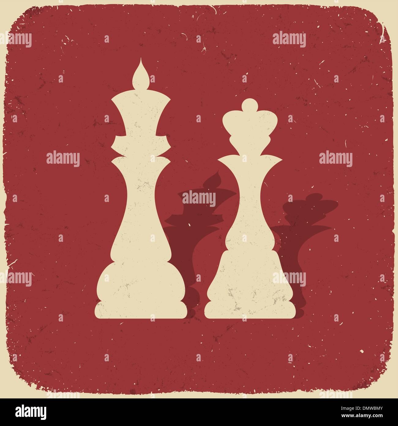 El rey y la reina. Retro de fondo de ajedrez, ilustración vectorial EPS Imagen De Stock