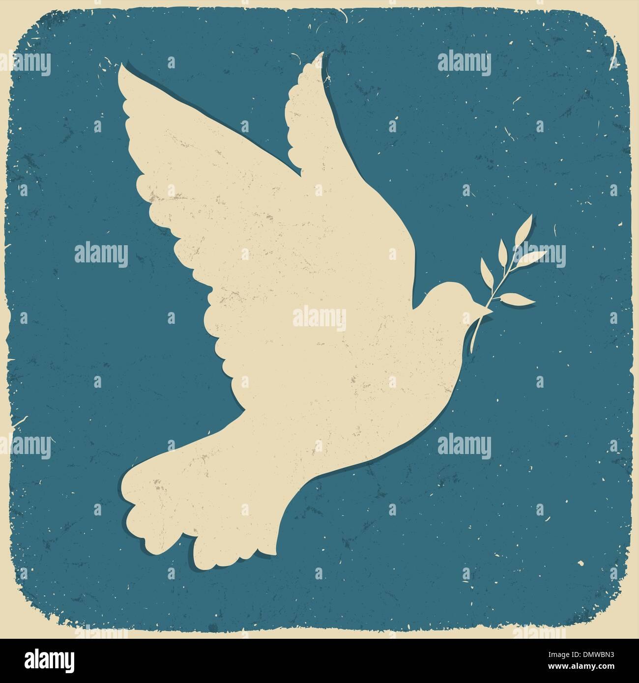 Paloma de la paz. Ilustración de estilo retro, vector eps10. Imagen De Stock