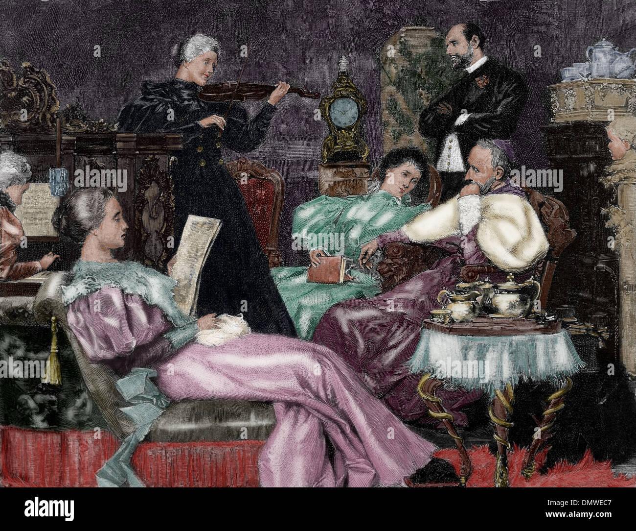 Concierto de música. Salón de clase superior de la caja. 1887. Grabado por R. Bong. Coloreada. Foto de stock