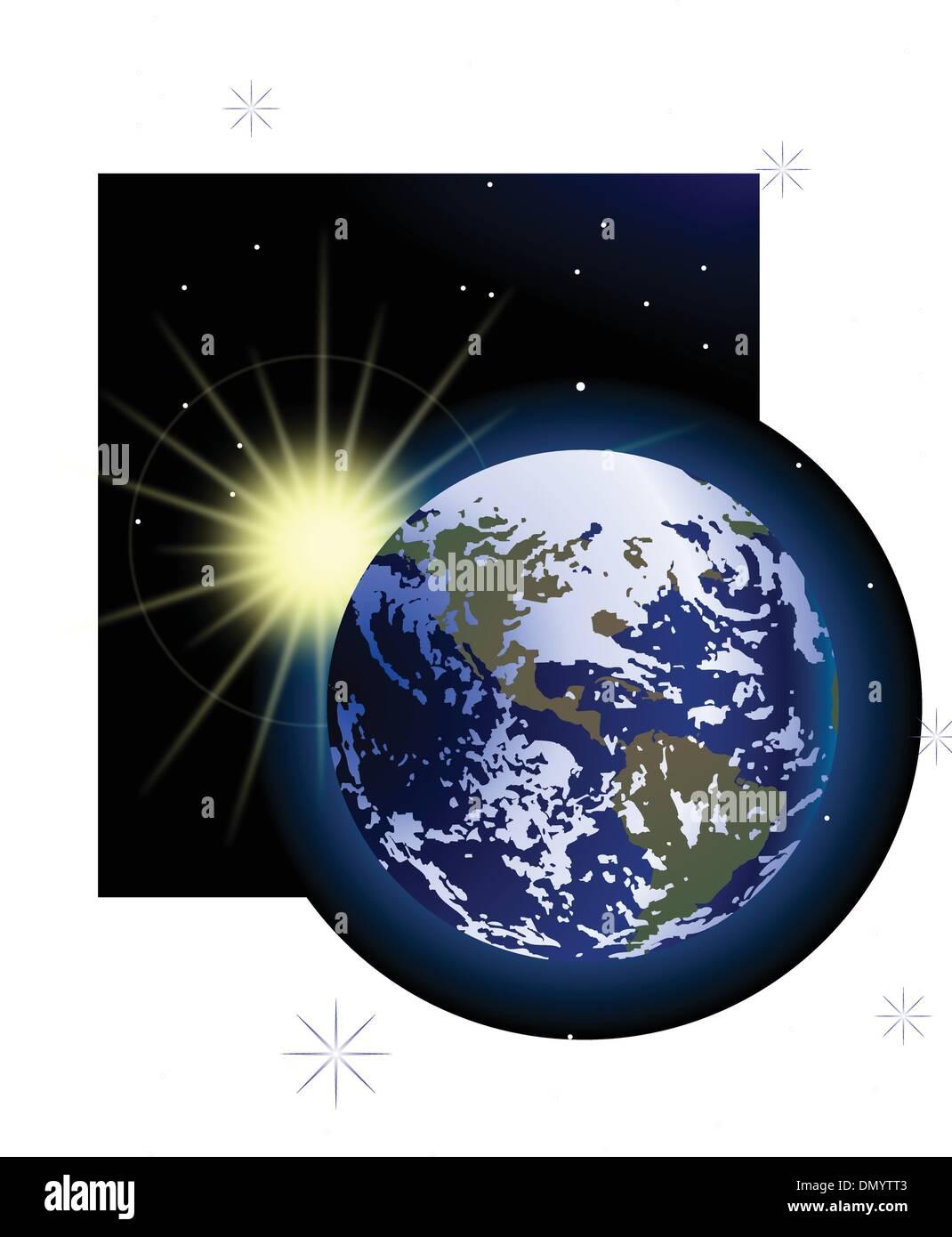 Planeta Tierra con amanecer en el espacio Imagen De Stock