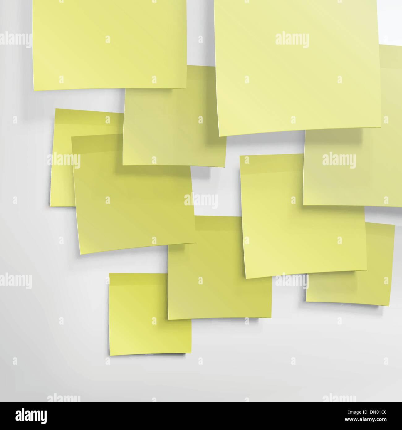 Notas adhesivas amarillas. Resumen Antecedentes, vector EPS10 Imagen De Stock