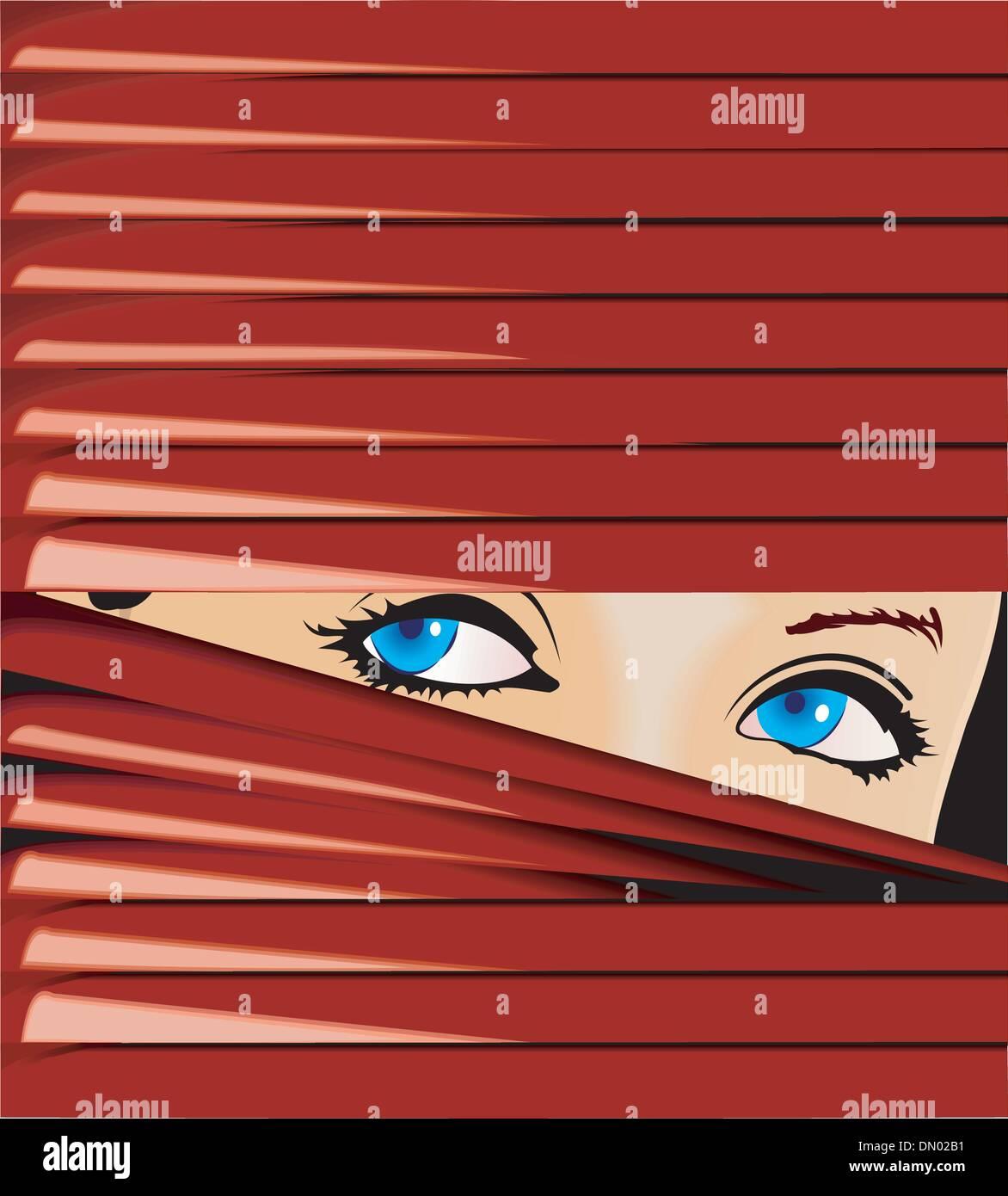 Porque la niña parece Blue-Eyed rojo de celos. Ilustración vectorial. No se engrana. Imagen De Stock