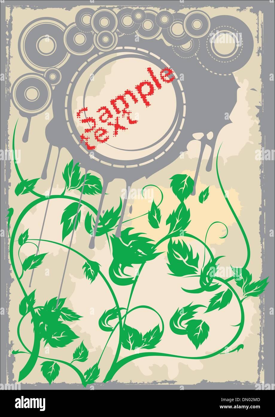 Discos gris hojas verdes página antigua. Flayer. Ilustración vectorial. No se engrana. Ilustración del Vector