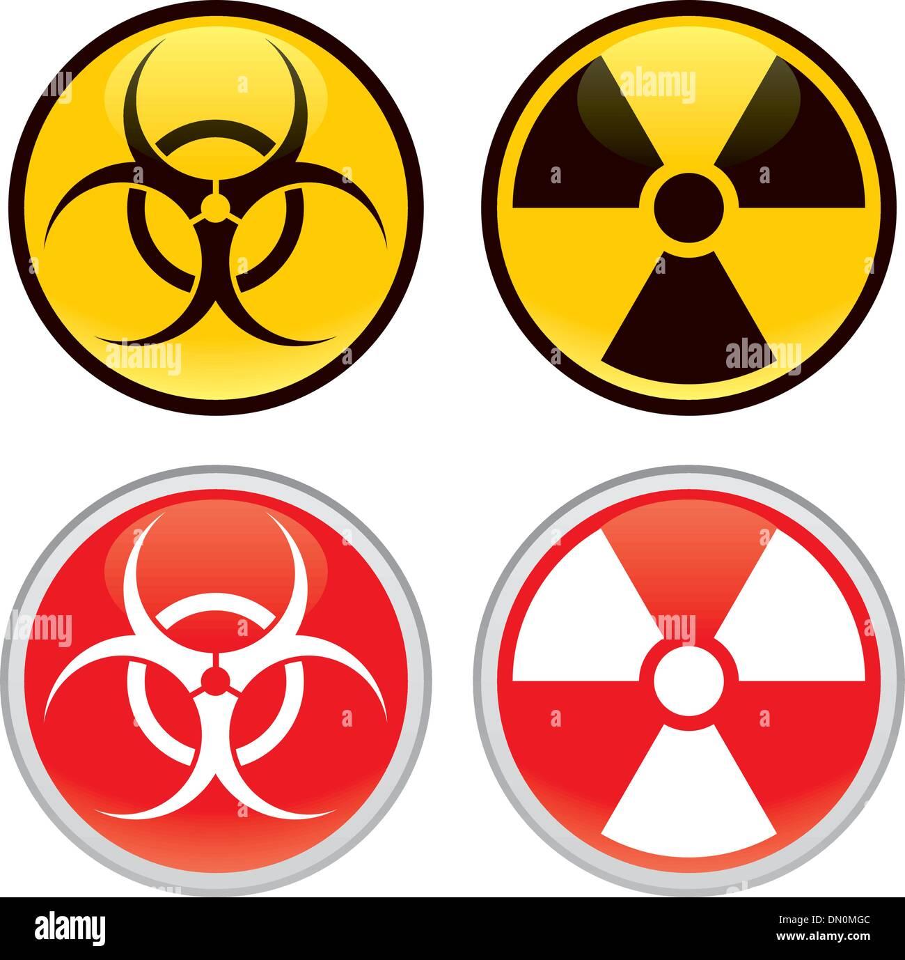 Biohazard radiactivos y señales de advertencia Ilustración del Vector