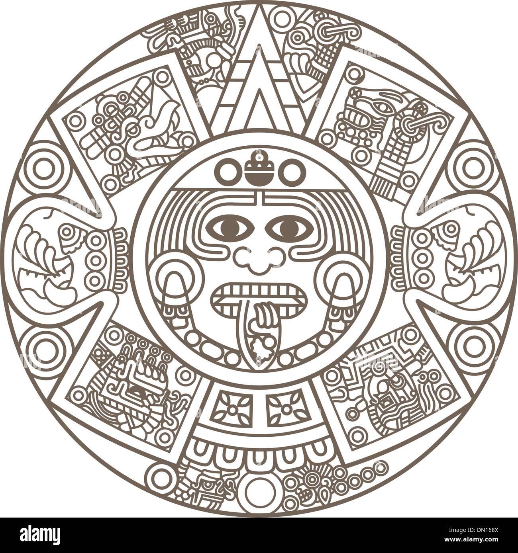 Calendario Azteca Vectores.Calendario Azteca Estilizado Ilustracion Del Vector Imagen