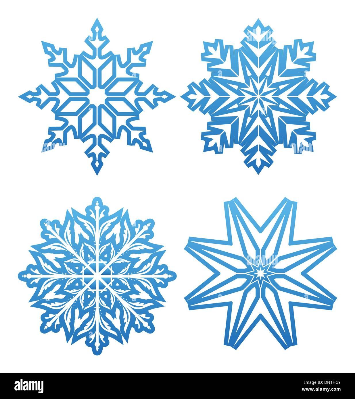 Variación de los copos de nieve aislados Imagen De Stock