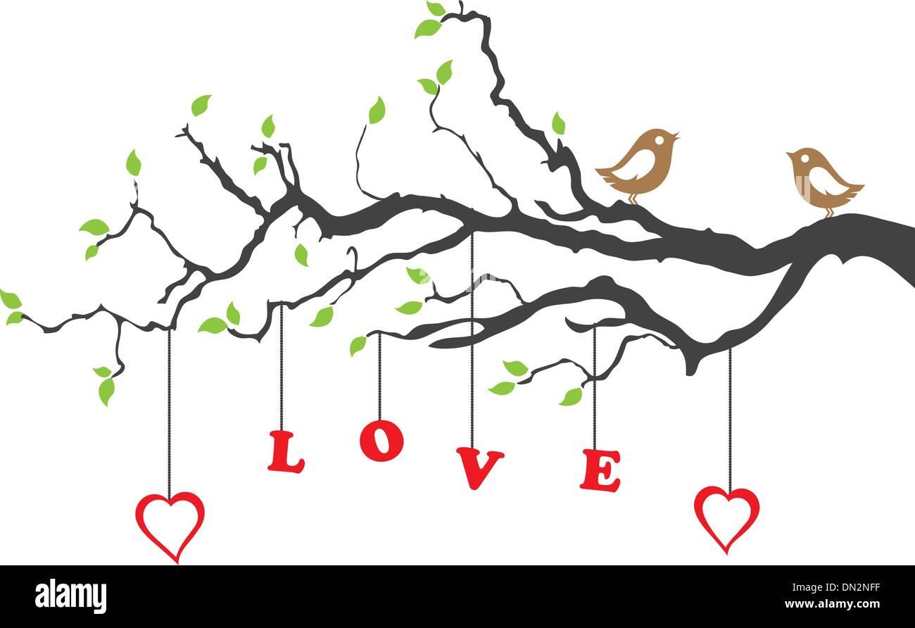 Pájaros del amor y una bella ornamentación floral Imagen De Stock