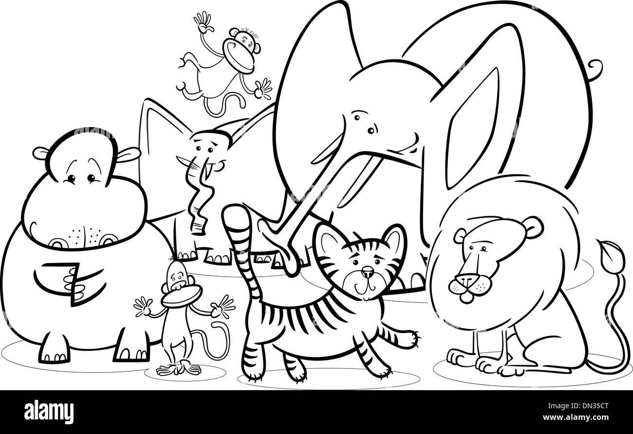 Safari Africano Animales Para Colorear Dibujos Animados Ilustración