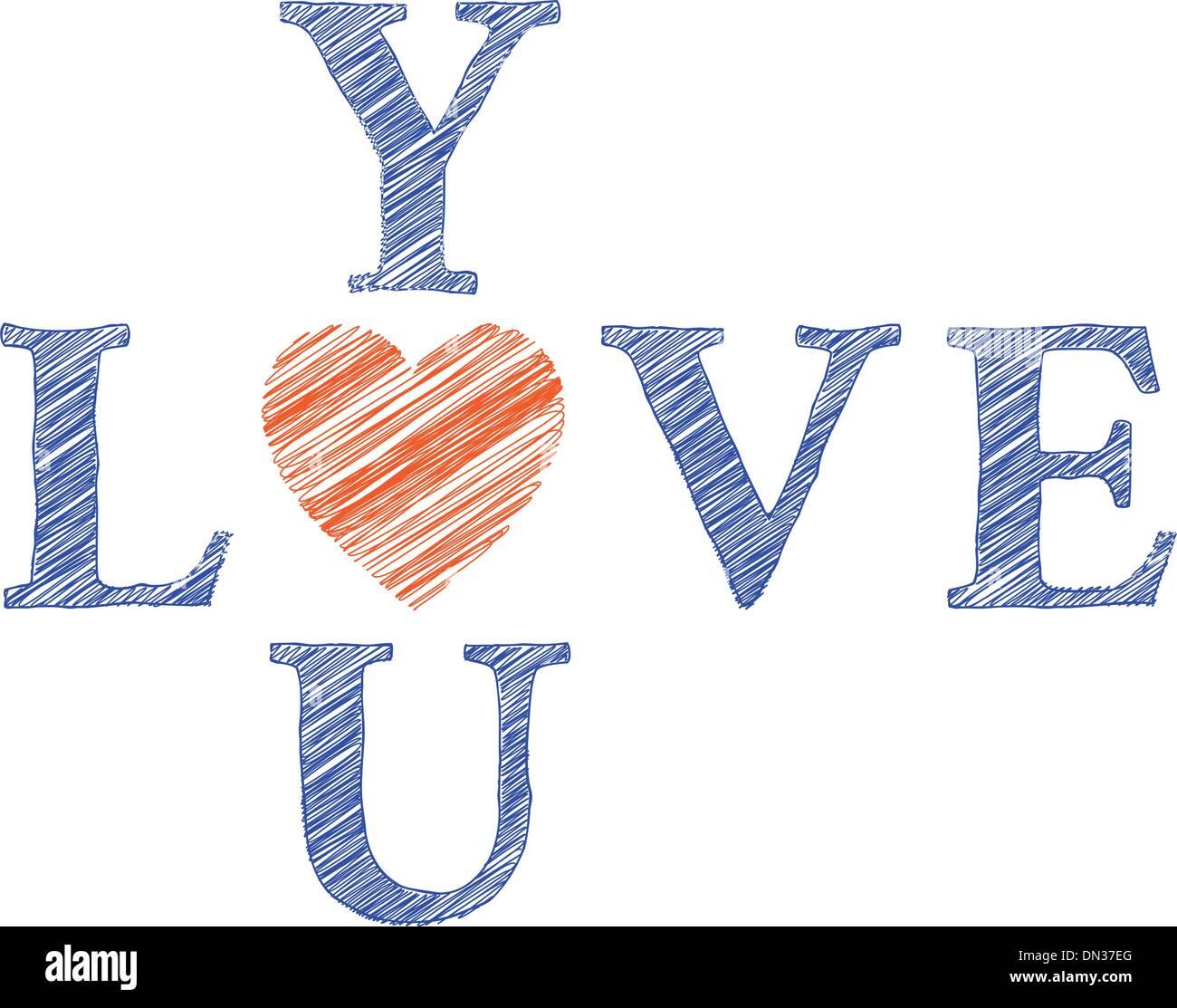 Te amo con letras dibujadas a mano, vector Ilustración del Vector