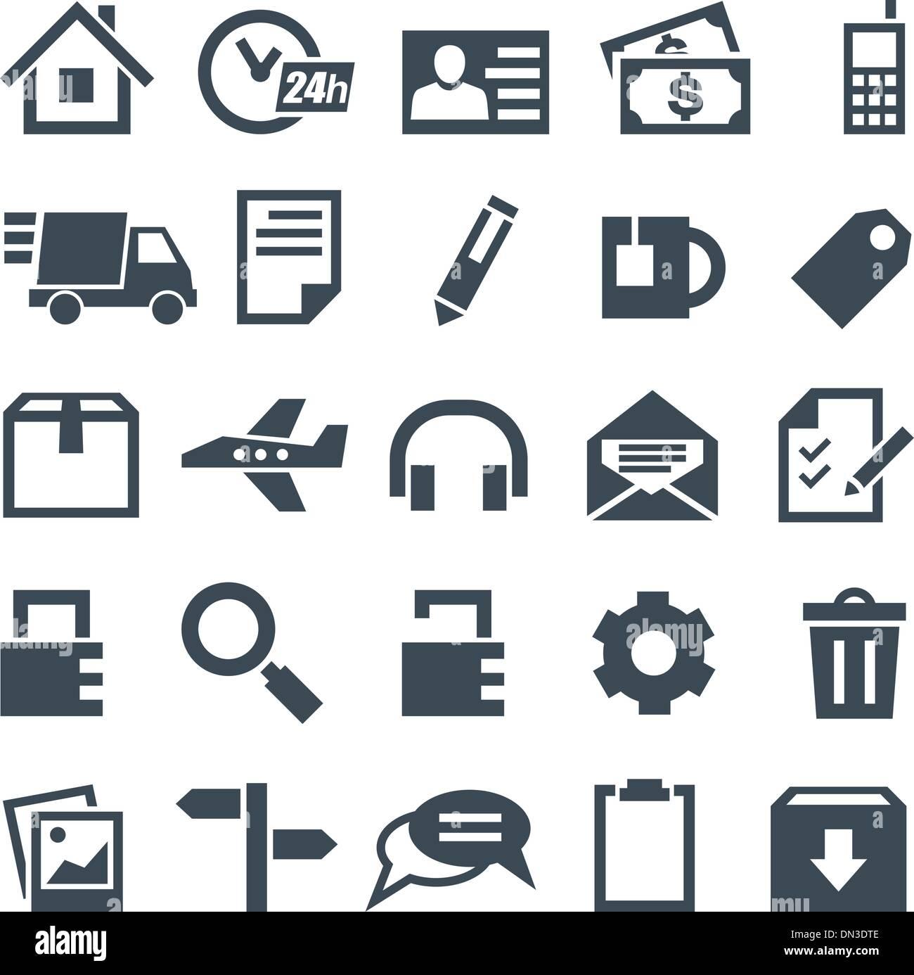 Conjunto universal de iconos para aplicaciones móviles y sitios web. Imagen De Stock