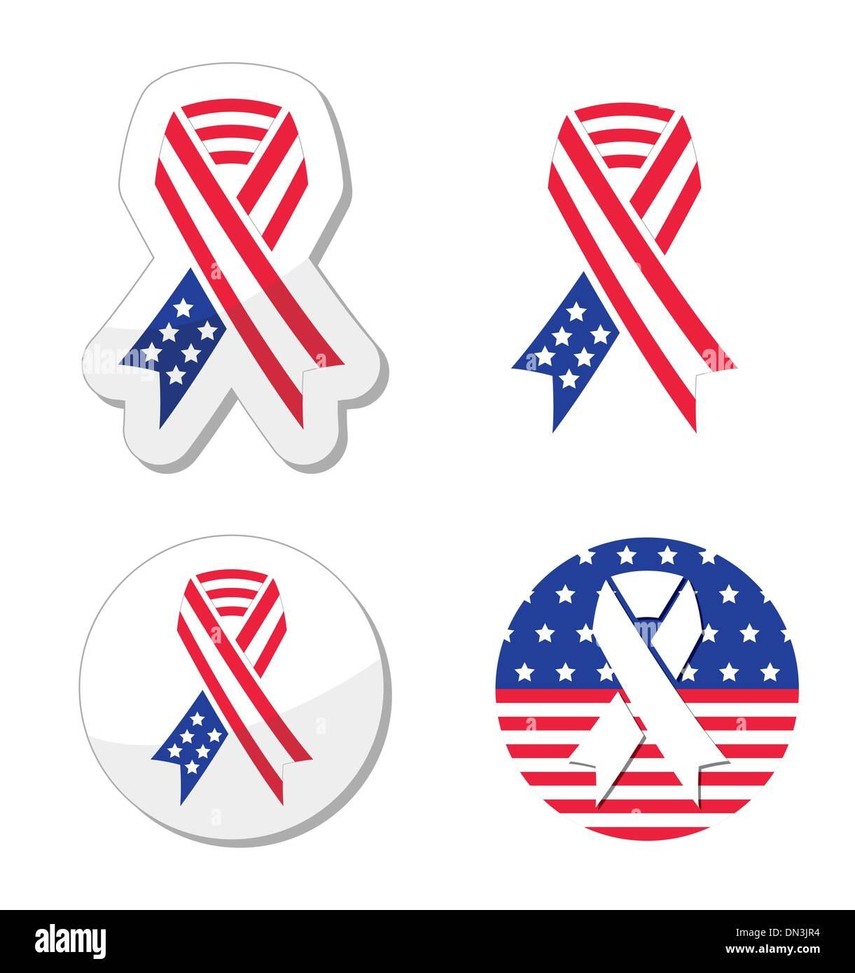 USA cinta bandera - símbolo de patriotismo, las víctimas y héroes de los atentados del 11-s Imagen De Stock
