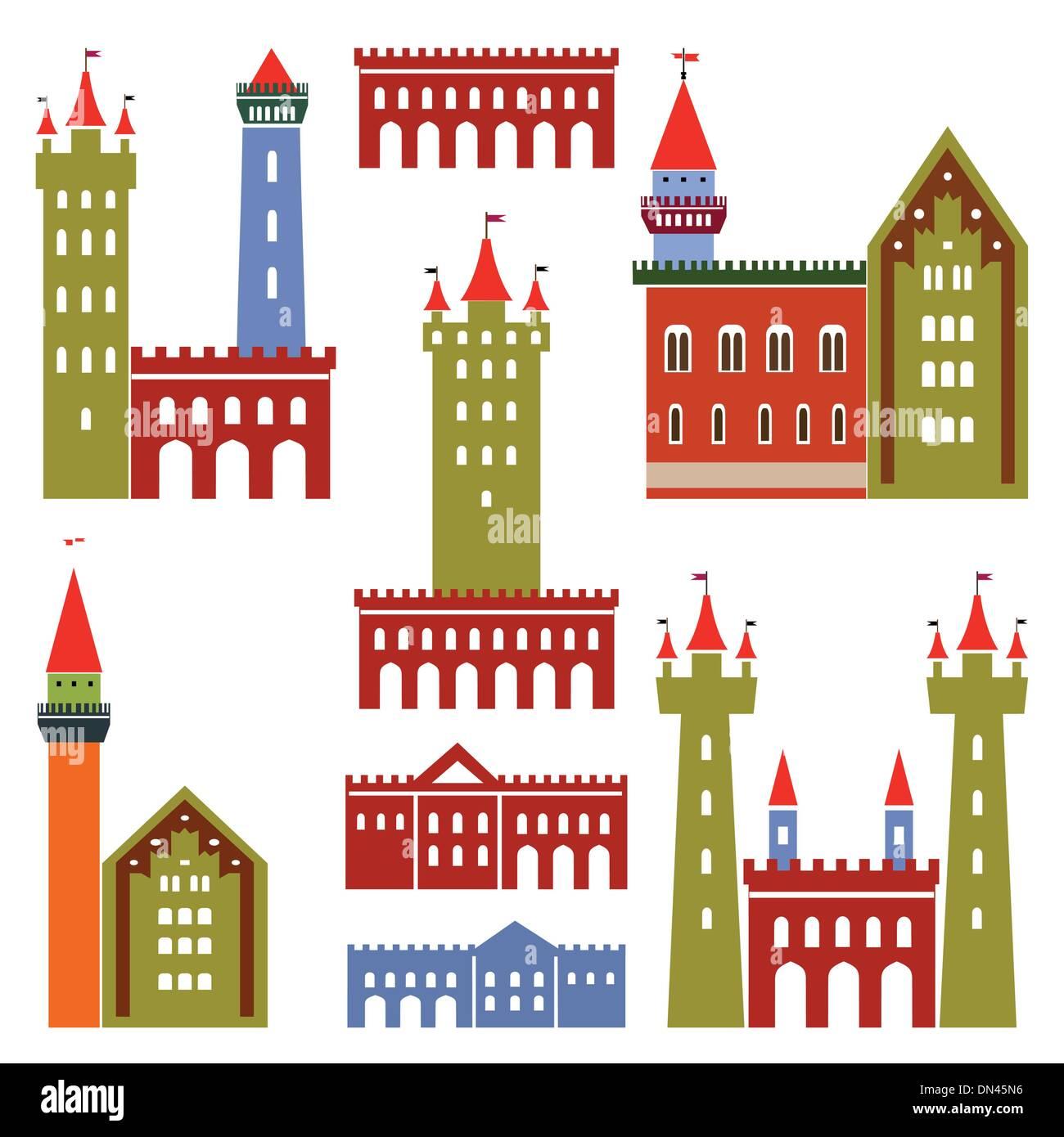 Arquitectura de vectores de castillos Imagen De Stock