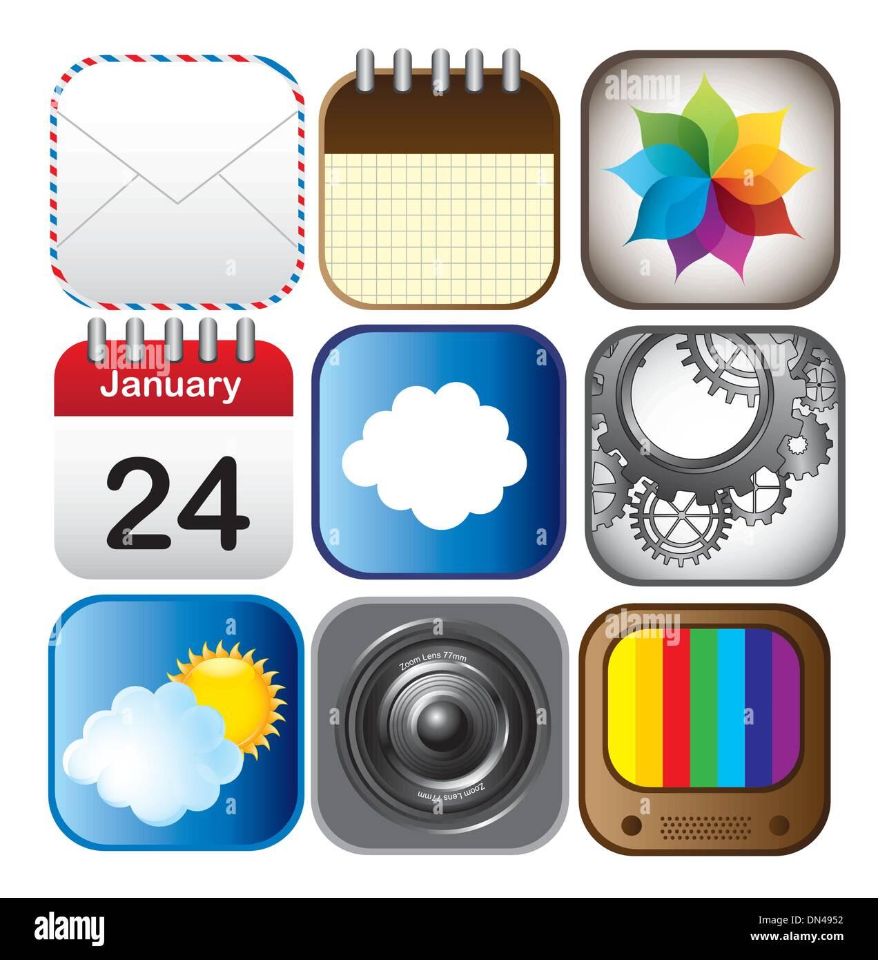 Iconos de aplicaciones Imagen De Stock
