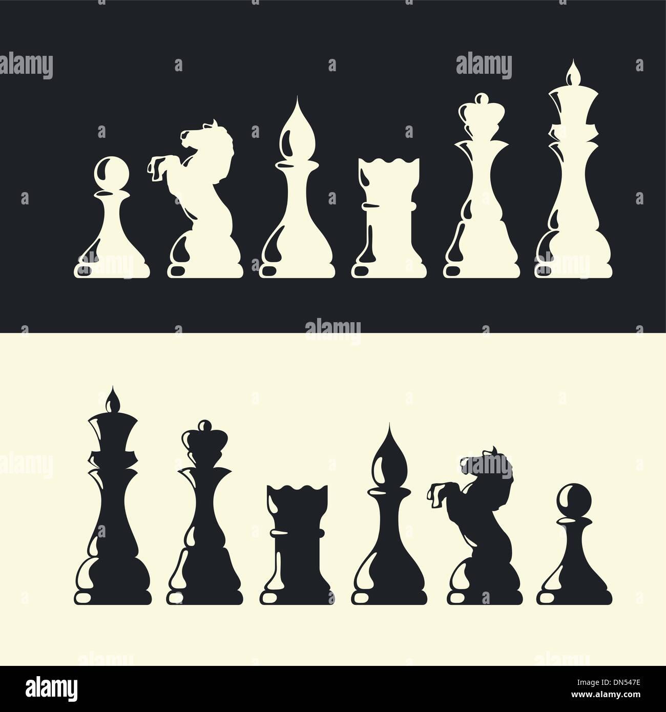 Colección de piezas de ajedrez. Vector Ilustración del Vector
