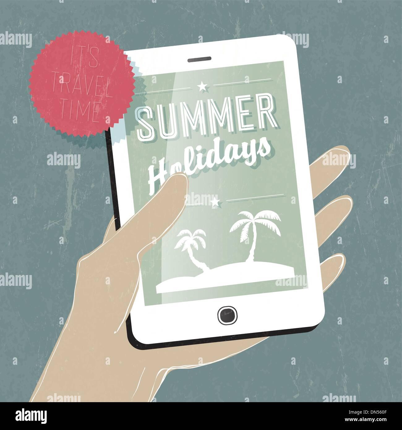 Ilustración conceptual de viajes de verano. Teléfono inteligente en la mano. Vect Imagen De Stock