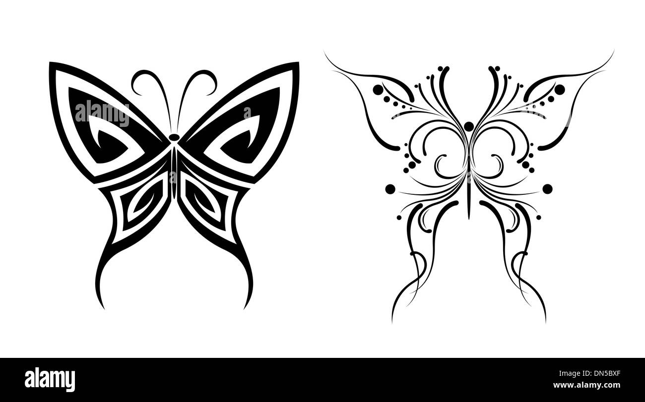Tatuajes De Mariposas En Blanco Y Negro Ilustracion Del Vector