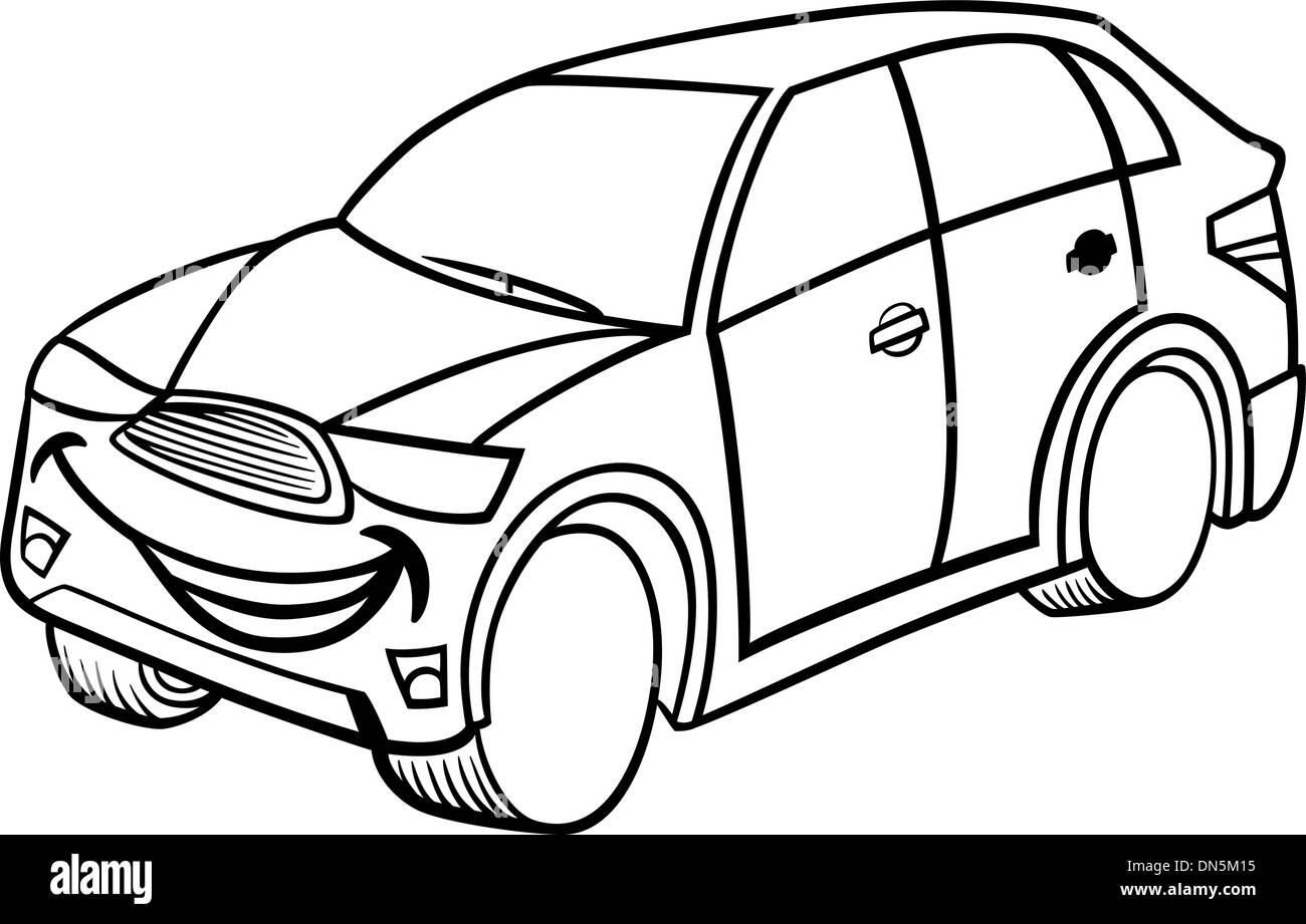 Coche Suv Página Para Colorear Dibujos Animados Ilustración Del