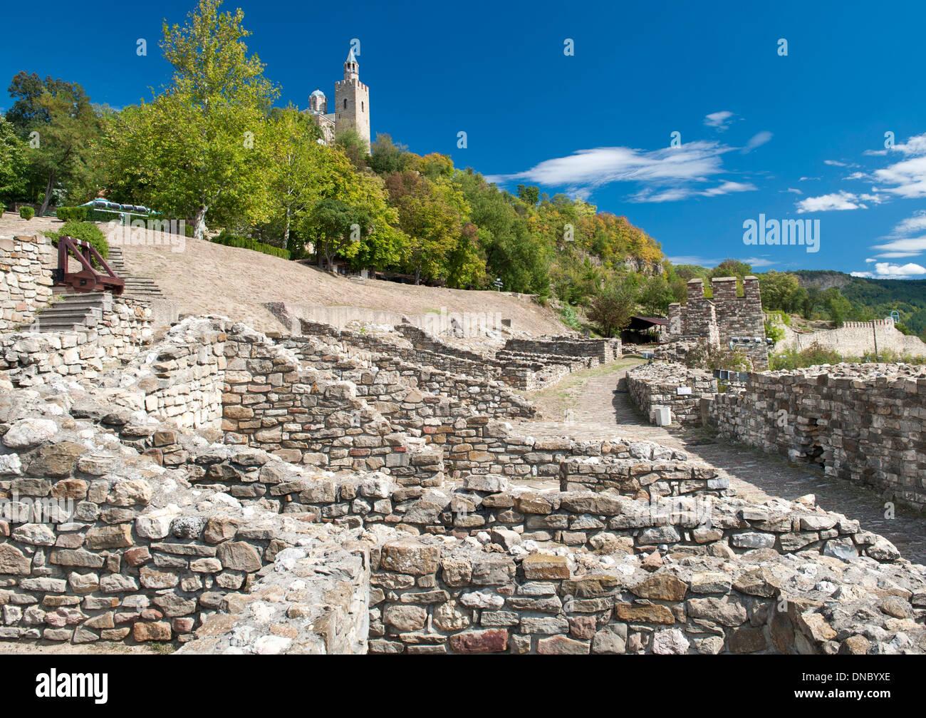 La Fortaleza de Tsarevets en Veliko Tarnovo en Bulgaria. Foto de stock