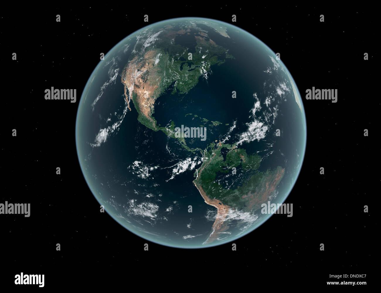 Tierra del hemisferio occidental con el aumento del nivel del mar de 330 pies por encima de la media. Imagen De Stock