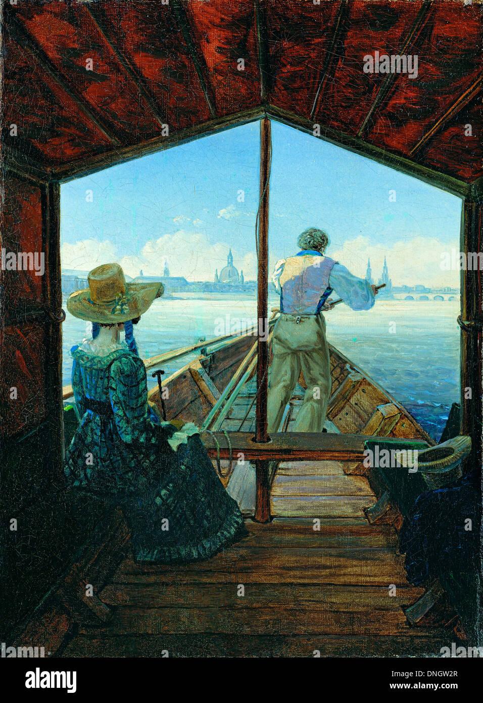 Carl Gustav Carus, la barcaza viaje sobre el río Elba cerca de Dresde (Mañana en el Elba) 1827 Óleo sobre lienzo. Foto de stock