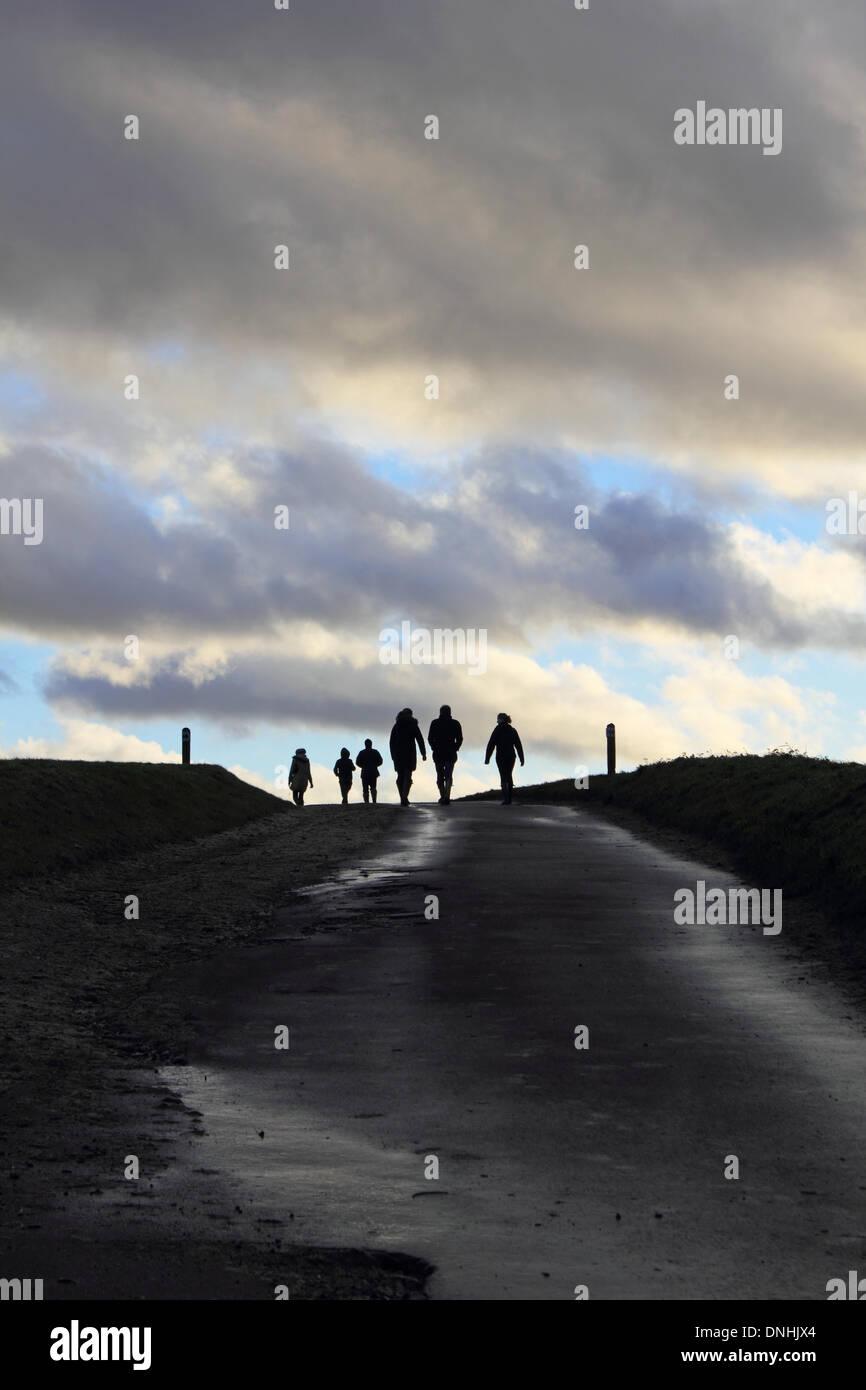 Epsom Downs, Surrey, Inglaterra, Reino Unido. El 30 de diciembre de 2013. Después de más lluvias en el Sudeste de Inglaterra finalmente el sol salió en la tarde en Epsom Downs, Surrey. Una familia toma un paseo por la colina por las colinas. Crédito: Julia Gavin/Alamy Live News Imagen De Stock