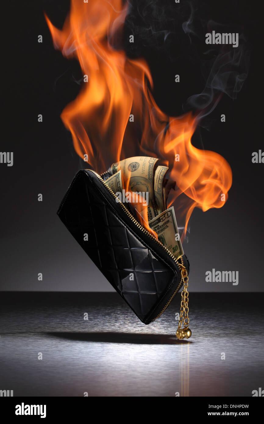 Una cartera de cuero marrón llena de tarjetas de crédito y dinero en fuego. Imagen De Stock
