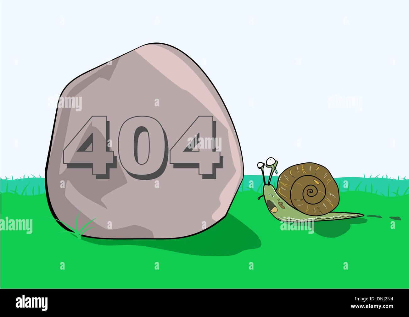 Representación ilustrativa de mensaje de error 404 en rock en frente de un caracol Foto de stock