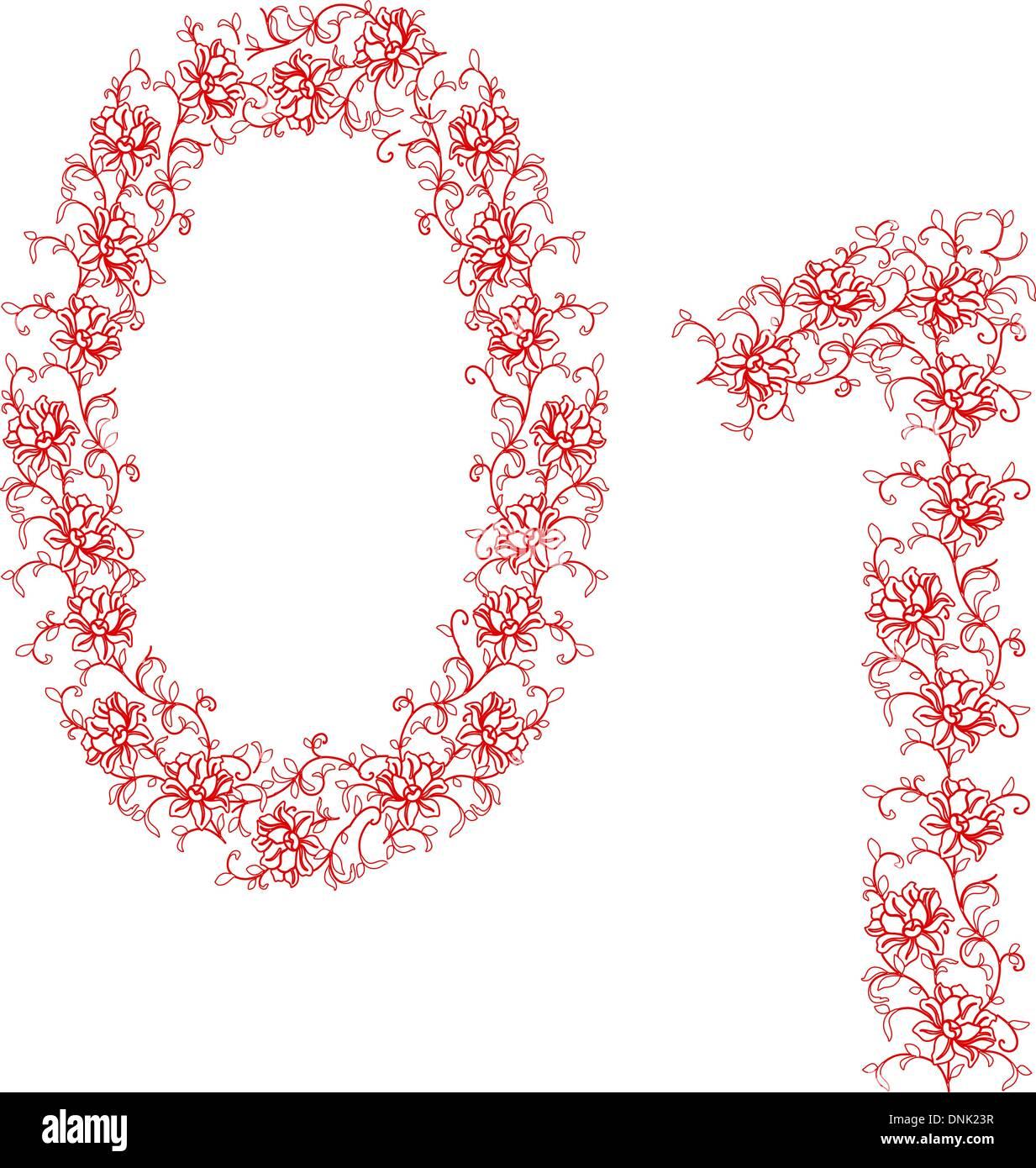 Dibujo a mano alzada alfabeto ornamental. Carta 01 Ilustración del Vector