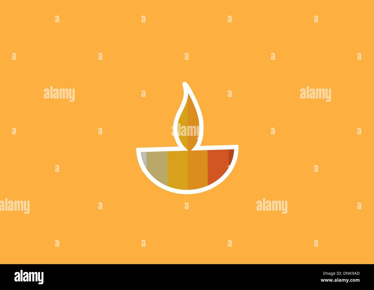 Diwali lámpara de aceite aislado sobre fondo naranja Foto de stock