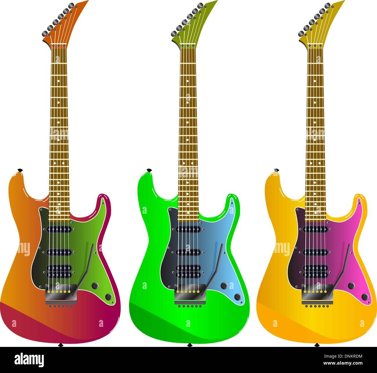Guitarra eléctrica sobre un fondo blanco. Imagen De Stock